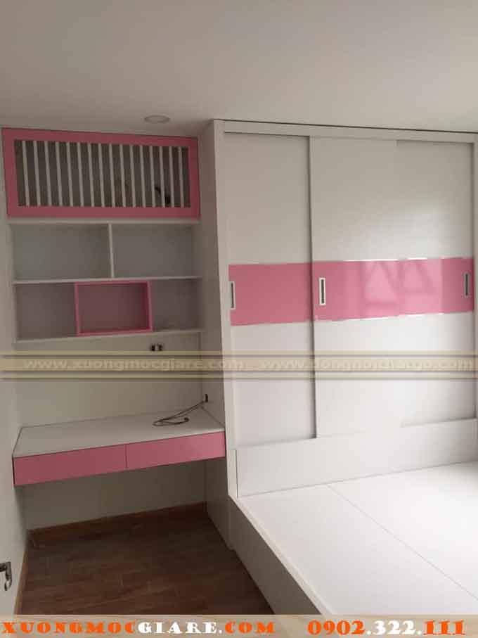 tủ áo màu hồng 2 cánh lùa