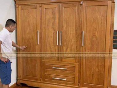 Đóng tủ áo gỗ gõ đỏ tự nhiên cao cấp ở Quận 3