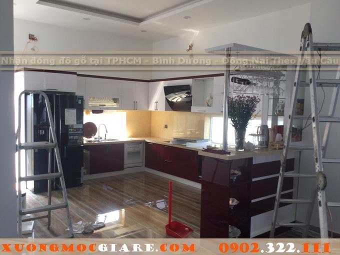 tủ bếp hình chữ U gỗ Acrylic