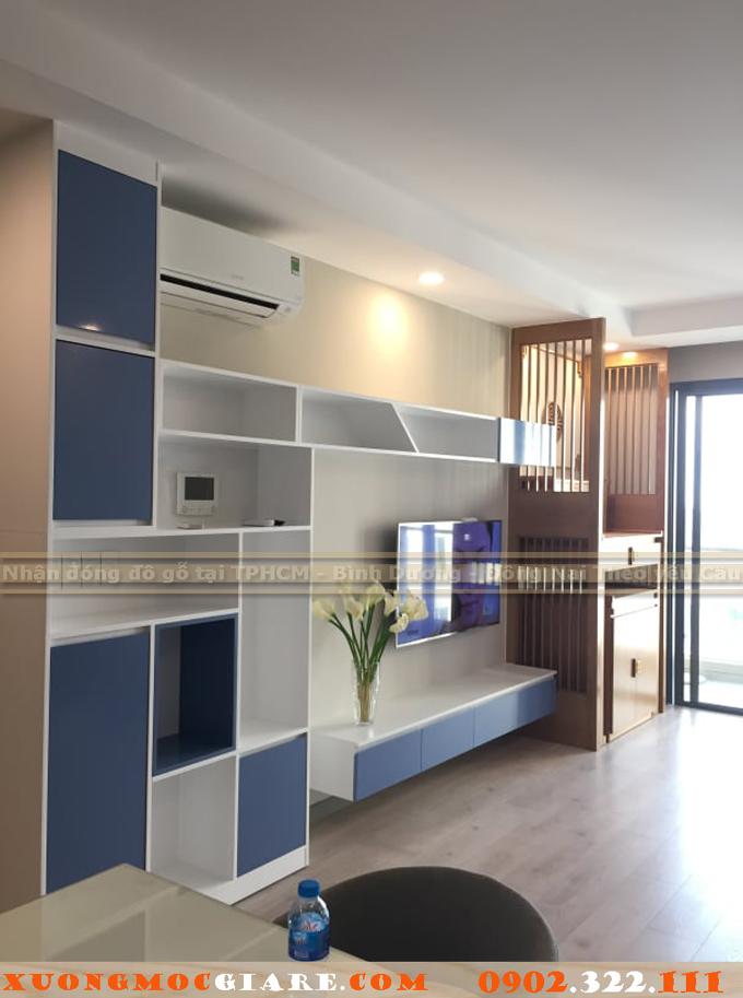 hoàn thiện gỗ nội thất chung cư Goldview