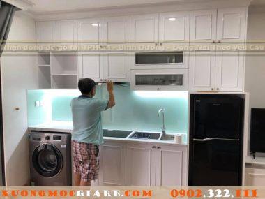 Hoàn thiện tủ bếp tân cổ điển màu trắng chung cư quận Gò Vấp