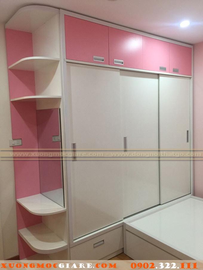 Tủ áo cho bé gái màu hồng trắng 3 cánh lùa