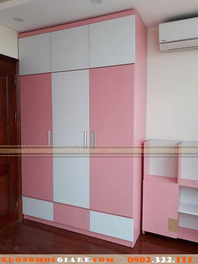 tủ áo cho bé gái màu trắng hồng