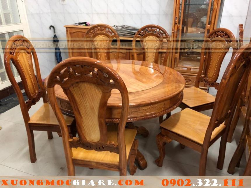 đóng bộ bàn ghế gỗ căm xe tự nhiên.